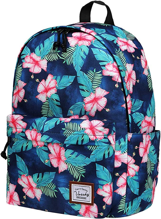 VASCHY Water Resistant High School Girls Backpack with Water Bottle Pockets