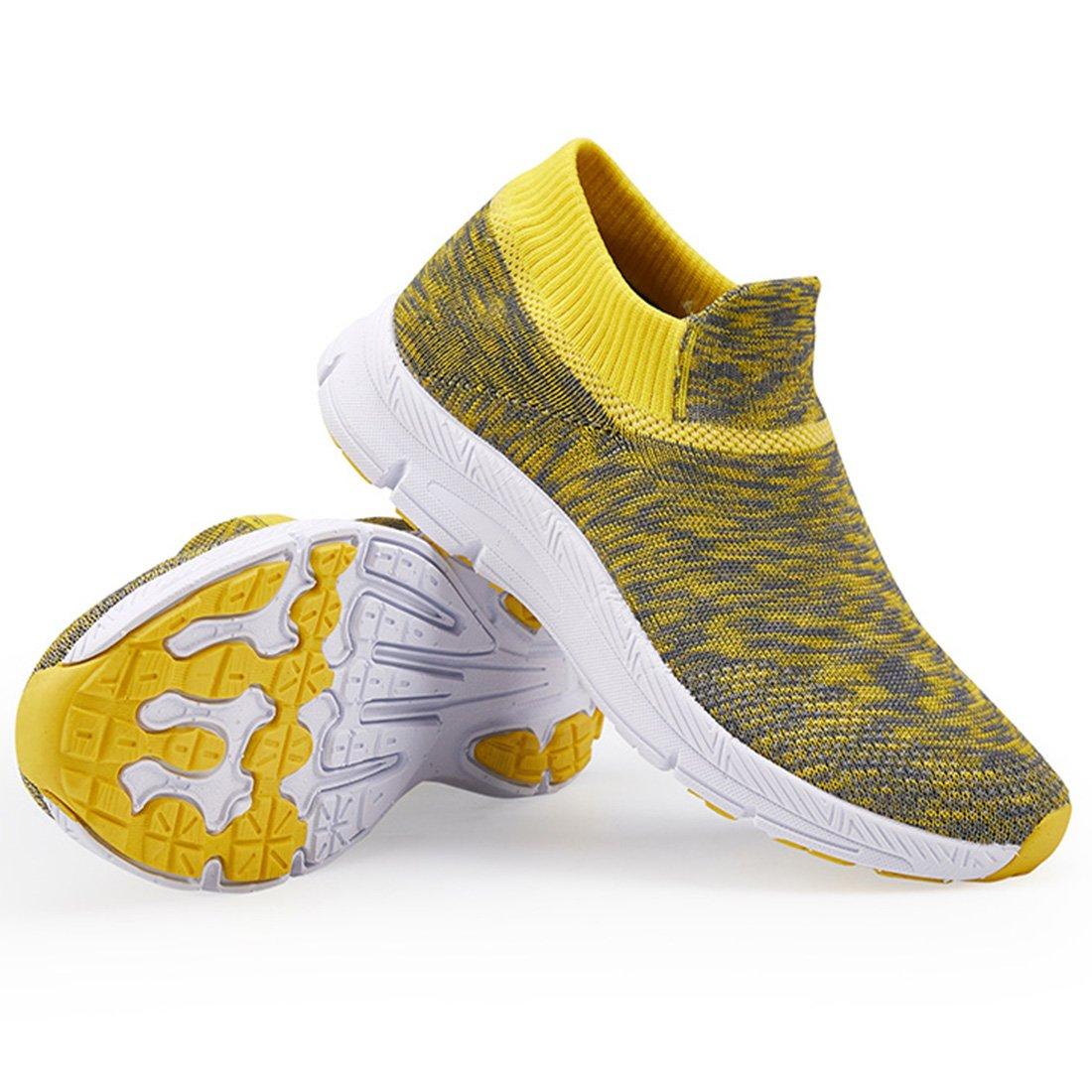 VIFUUR Girls Boys Socks Shoes Fashion Casual Walking Shoes Breathable Lightweight Sneakers Kids Gray/Yellow-33 by VIFUUR