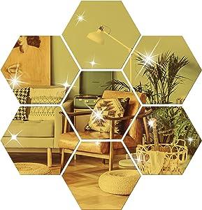 NAILDOKI DIY Wall Decals Acrylic Mirror Sticker Set 12 Pcs, Hexagon Mirror Wall Stickers for Living Room Bedroom Decor (Gold)