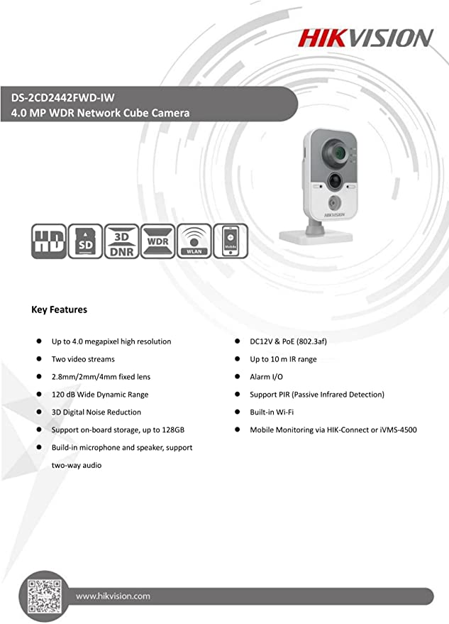 Ds 2cd2442fwd Iw Hikvision 4 Mp Wdr Ip Cube Kamera Kamera