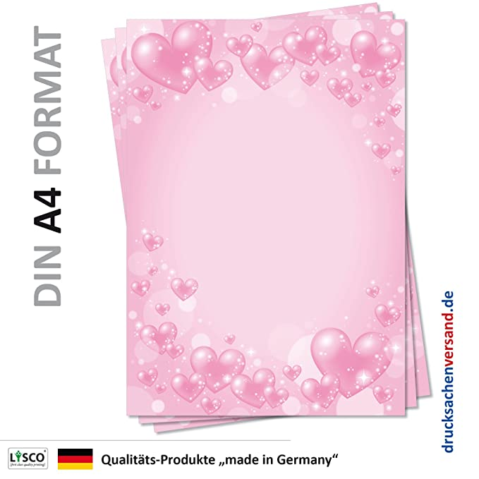 Herzen-5159 DIN A4 100 Blatt Motivpapier Briefpapier rosa Herzen Valentinstag