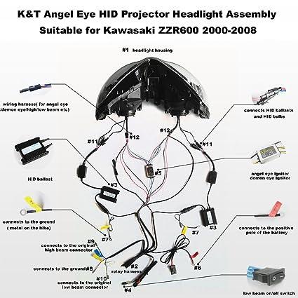amazon com: kt headlight assembly for kawasaki zzr600 2000-2008 white angel  eye: automotive