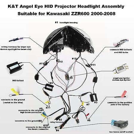 amazon com kt headlight assembly for kawasaki zzr600 2000 2008 Kawasaki ZZR 600