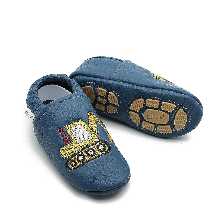Liya S Chaussures Chaussons pour bébé en Cuir Puschen–# 689Pelle dans grünblau