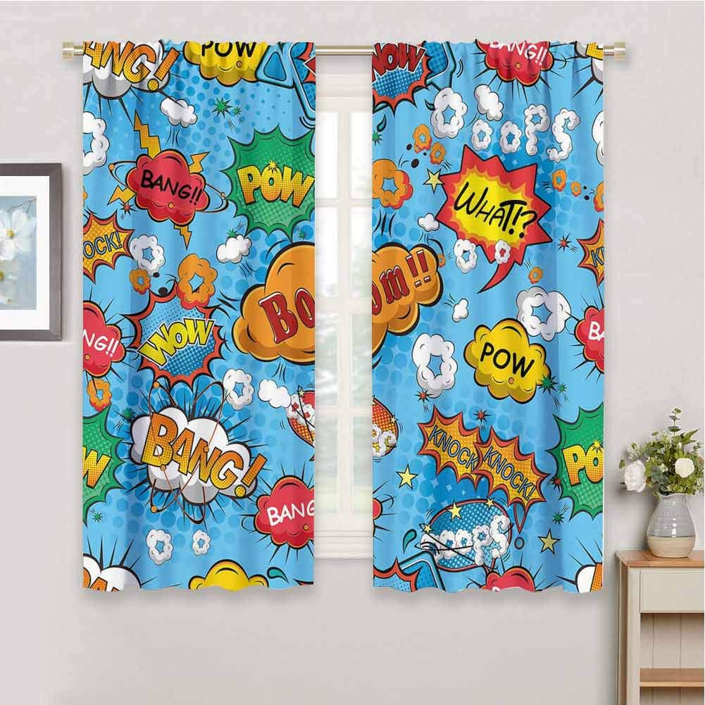 June Gissing Superhero Heat Block Front Door Curtains Panel for Kitchen, Blackout Curtain Fun Patterned Curtain (Multicolor, 72 x 63 Inch) by June Gissing