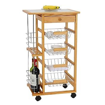 kinbor carrito de cocina de madera isla estación de trabajo Utility carro w/cajones y ruedas: Amazon.es: Hogar