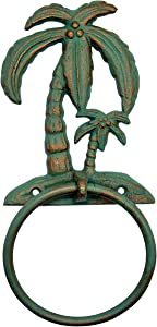 Green Cast Iron Palm Tree Towel Ring with Gold Toned Finish, Beach Décor, 10 Inches