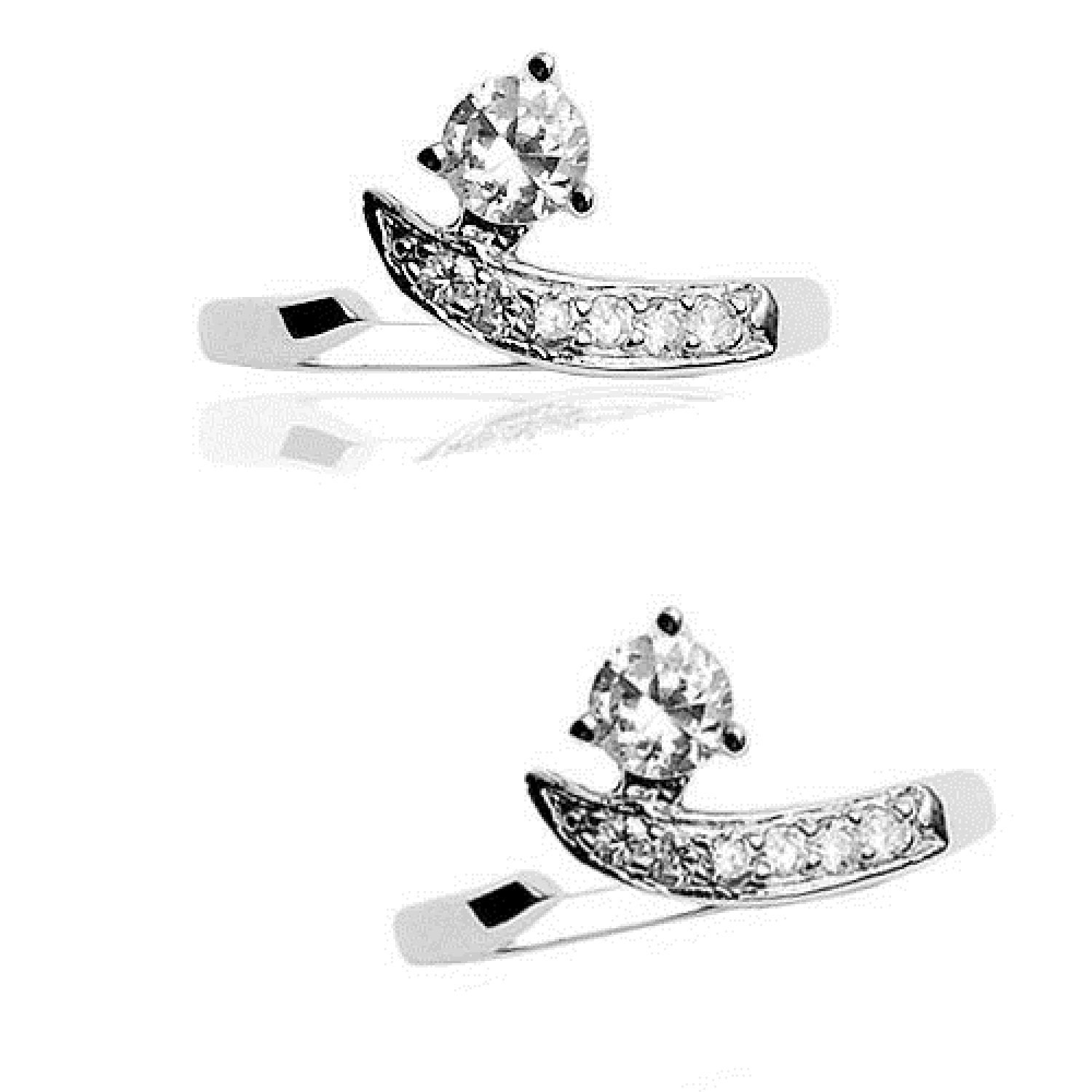 lala/_mcp 1 Pc Solid .925 Sterling Silver W//Solitaire Clear C.Z Adjustable Toe Ring