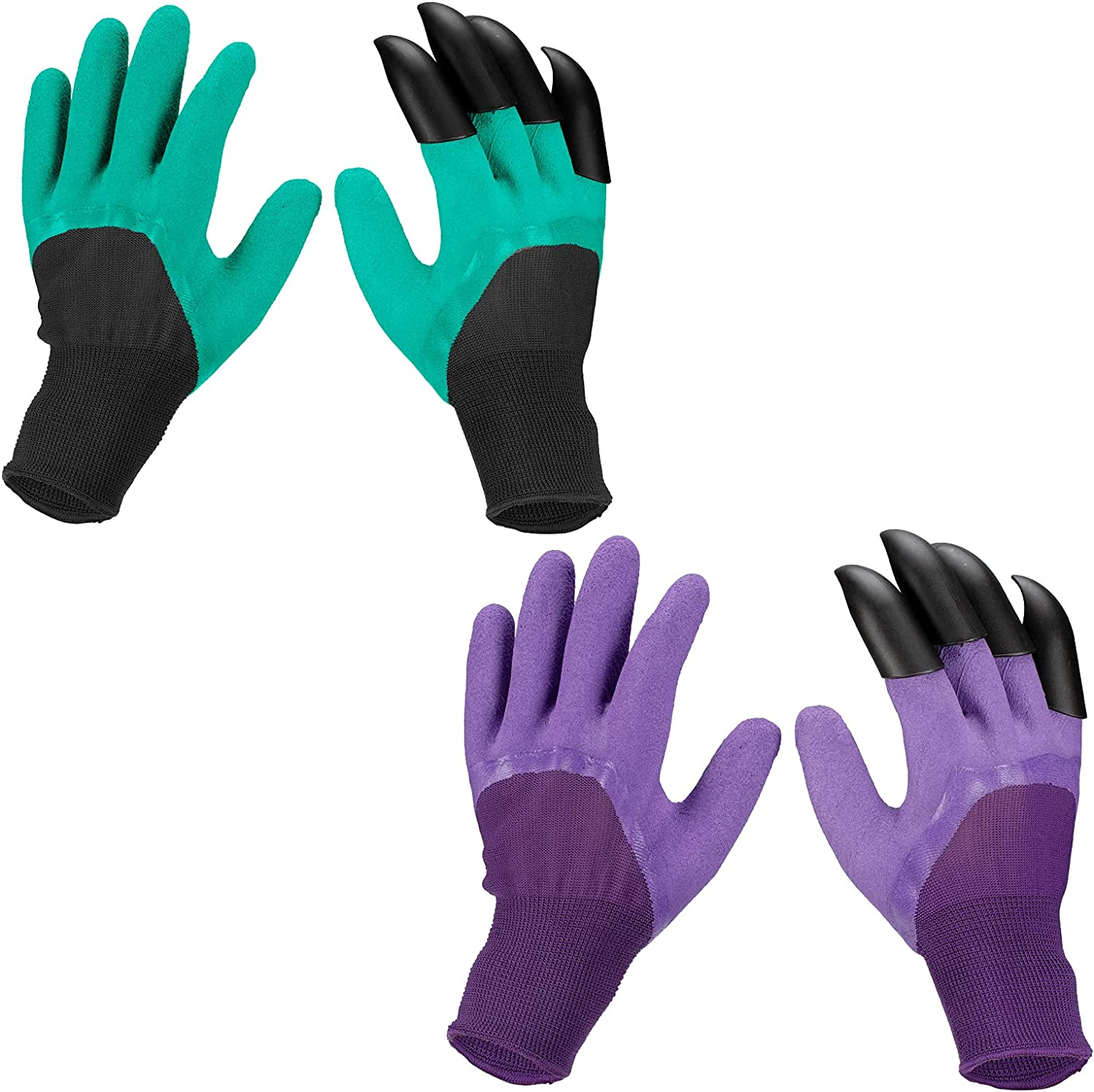 2 Pairs Garden Genie Gloves With Claws, Green Waterproof Garden Gloves with Single Claw for Digging Planting Weeding Seeding Gardening Gifts For Women and Men Outdoor Yard Work (Green, Purple)