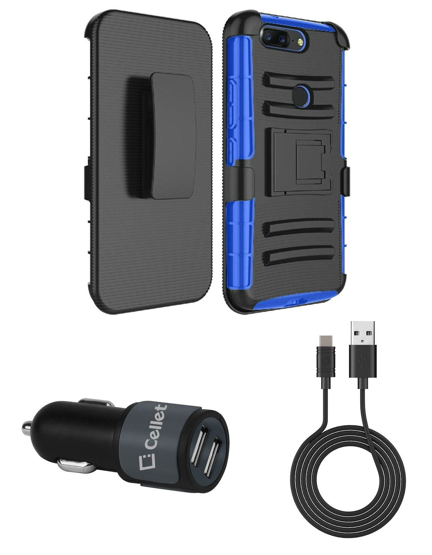 OnePlus 5T - Accessory Bundle: Dual Layer Shockproof Kickstand Belt Holster Case - (Blue), [10 Watt / 2.1 Amp] High Power Dual Car Charger with USB to Type-C (USB-C) Cable and Atom Cloth