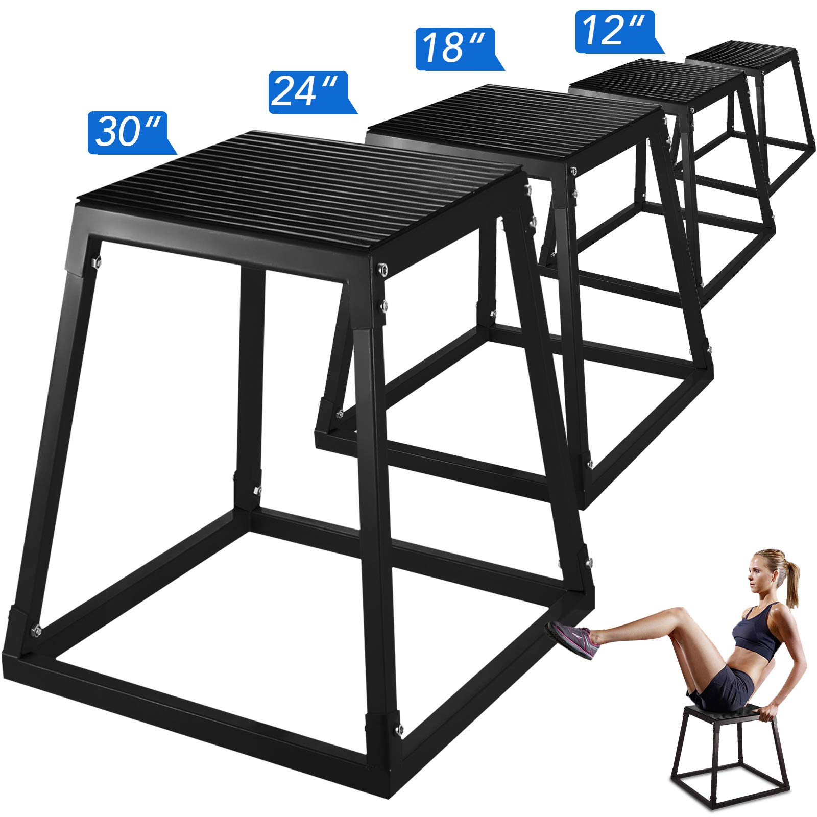 popsport Plyometric Platform Box 12/18/24/30 Inch Fitness Exercise Jump Box Step Plyometric Box Jump for Exercise Fit Training (Black, 12/18/24/30inch)