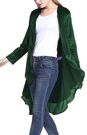 1d9cf6e6f0 Urban CoCo Women s Long Sleeve Velvet Cardigan Coat with Asymmetric Chiffon  Hem (S