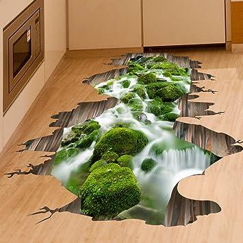 Fangeplus(TM) 3D Creek Floor Sticker Hole View DIY Removable Art Mural  Vinyl Waterproof