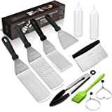 Griddle Accessories Kit, Restaurant Grade Stainless Steel Griddle Spatula Set for Flat Top Grill Professional Spatulas Tool Kit for BBQ Gift Idea for Men Dad Husband Father Chef