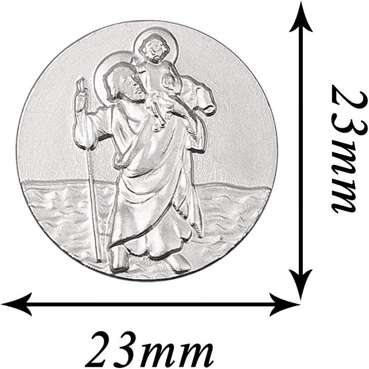 Fritz Cox/® Christopherus Auto Magnet Silber ohne Rand selbstklebend und leicht angebracht mit pers/önlicher Geschenkkarte