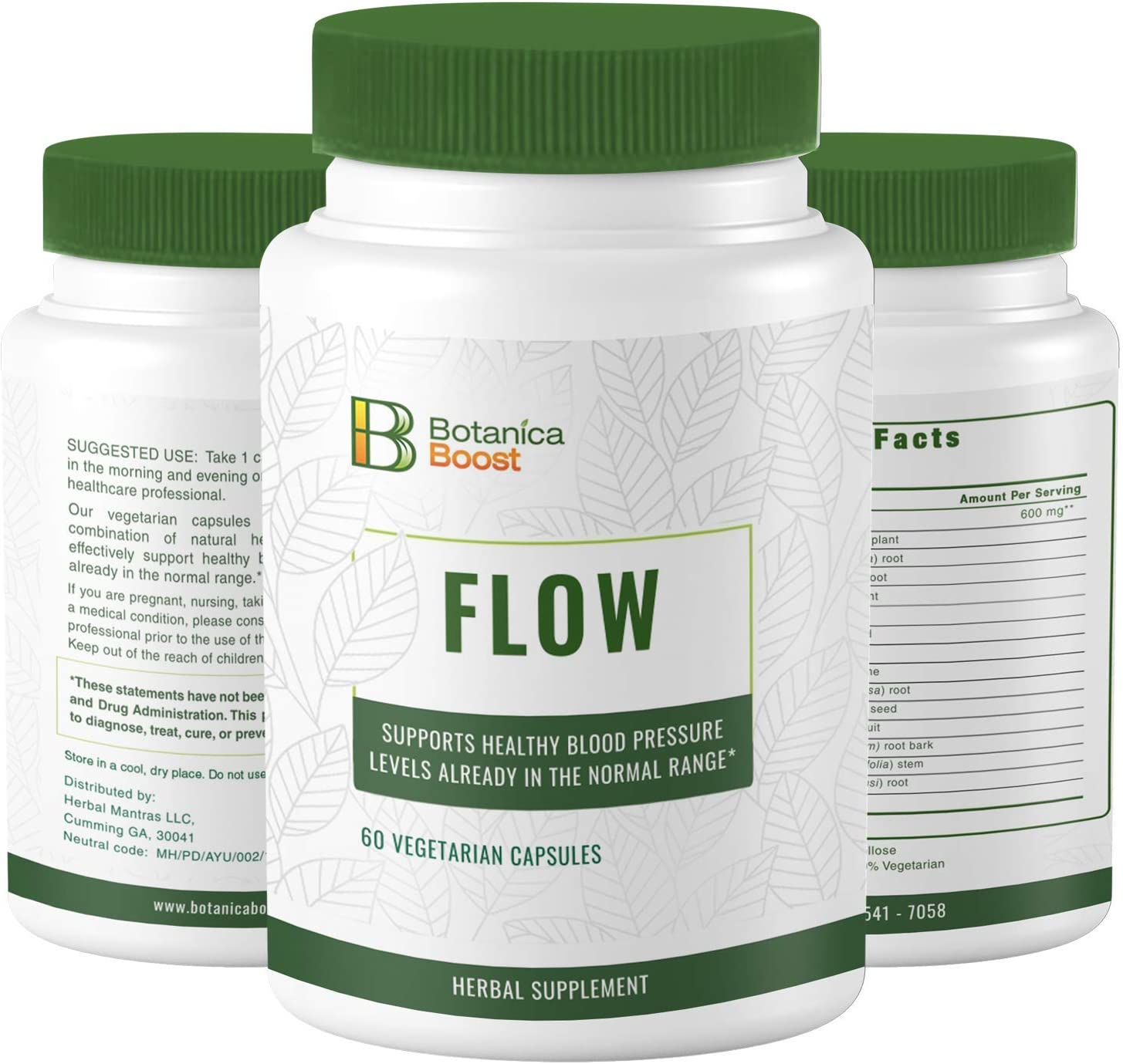 Botanica Boost Flow 600 mg Herbal Supplement Supports Healthy Blood Pressure Levels Already in Normal Range with Ashwagandha, Bacopa Monnieri and Rauwolfia Serpentina for Cardiovascular Health (60)
