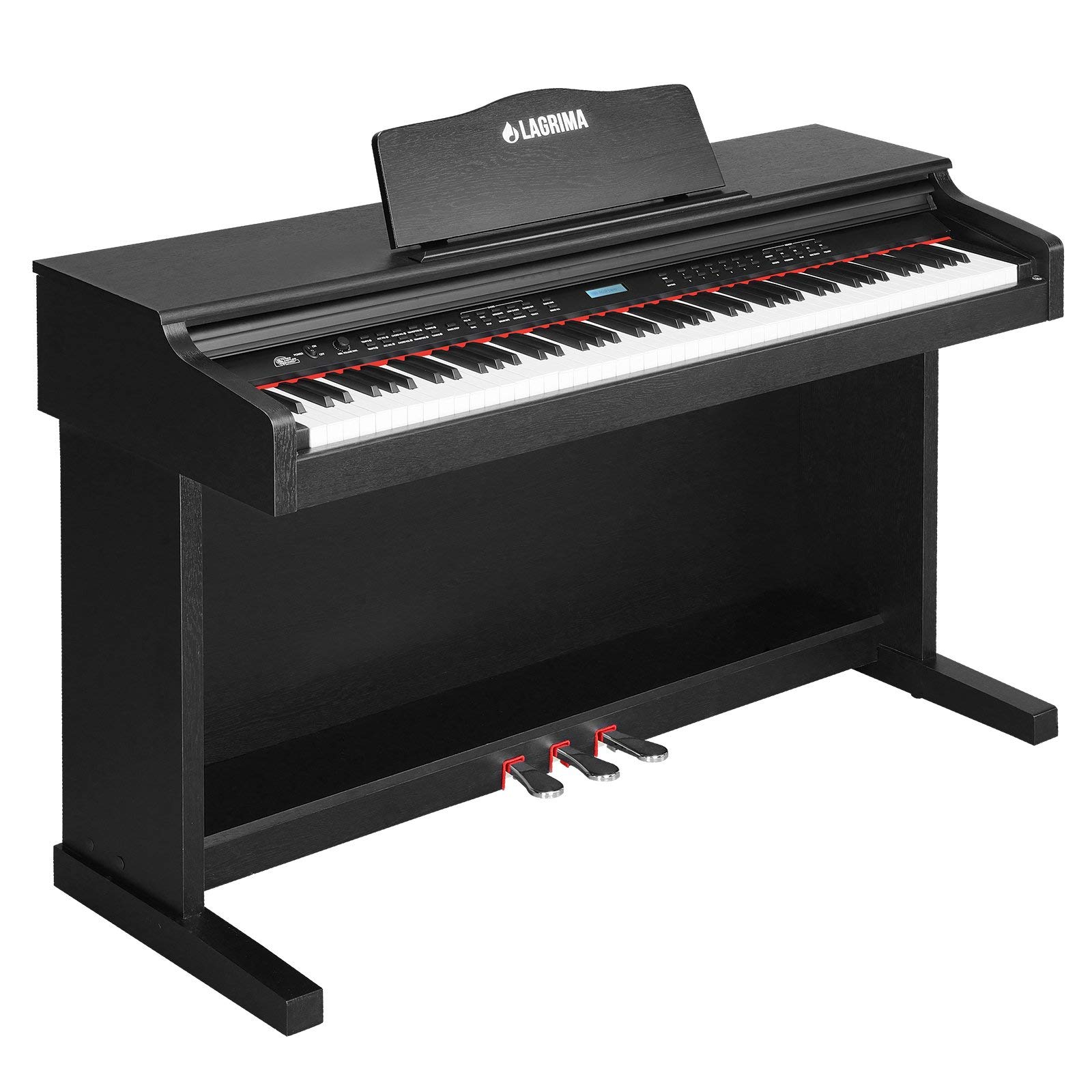 LAGRIMA Digital Piano, 88 Keys Electric Keyboard Piano for Beginner(Kids/Adults), w/Power Adapter+3 Metal Pedals+Instruction Book, 2 Headphone Jack/Midi/USB Output for Phone, Table and Computer