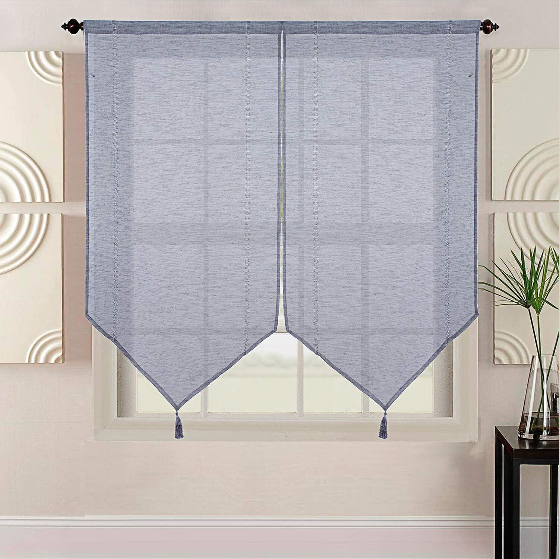 Best Interior Paire de vitrages uni 2x60x120cm Gris