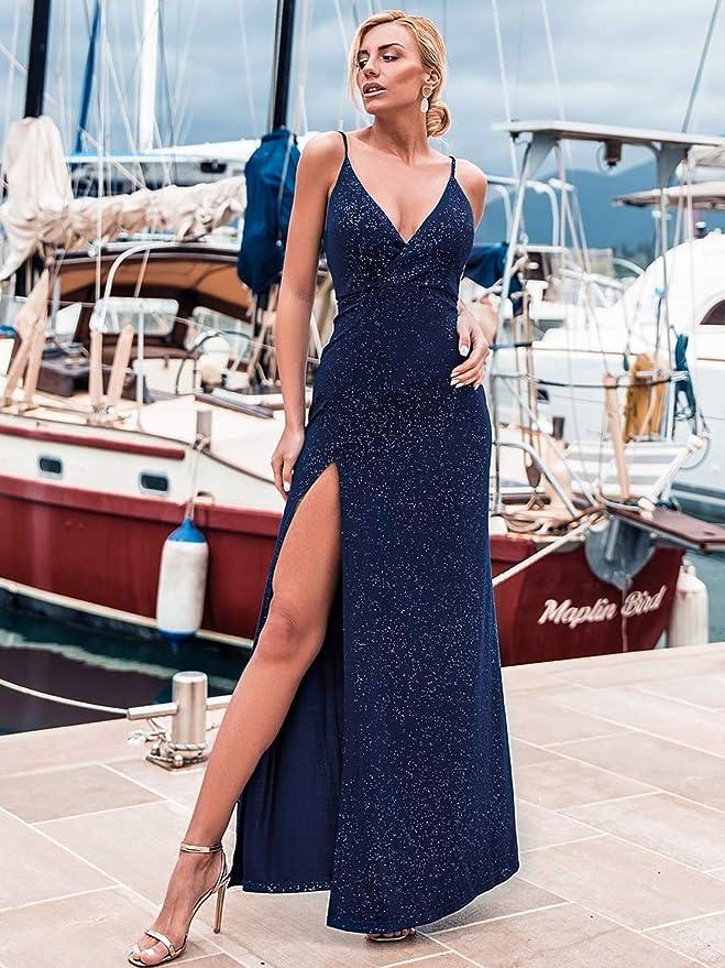 Ever-Pretty Vestito da Festa Donna Linea ad a Scollo V con Spacco Apri Indietro Lungo 07845