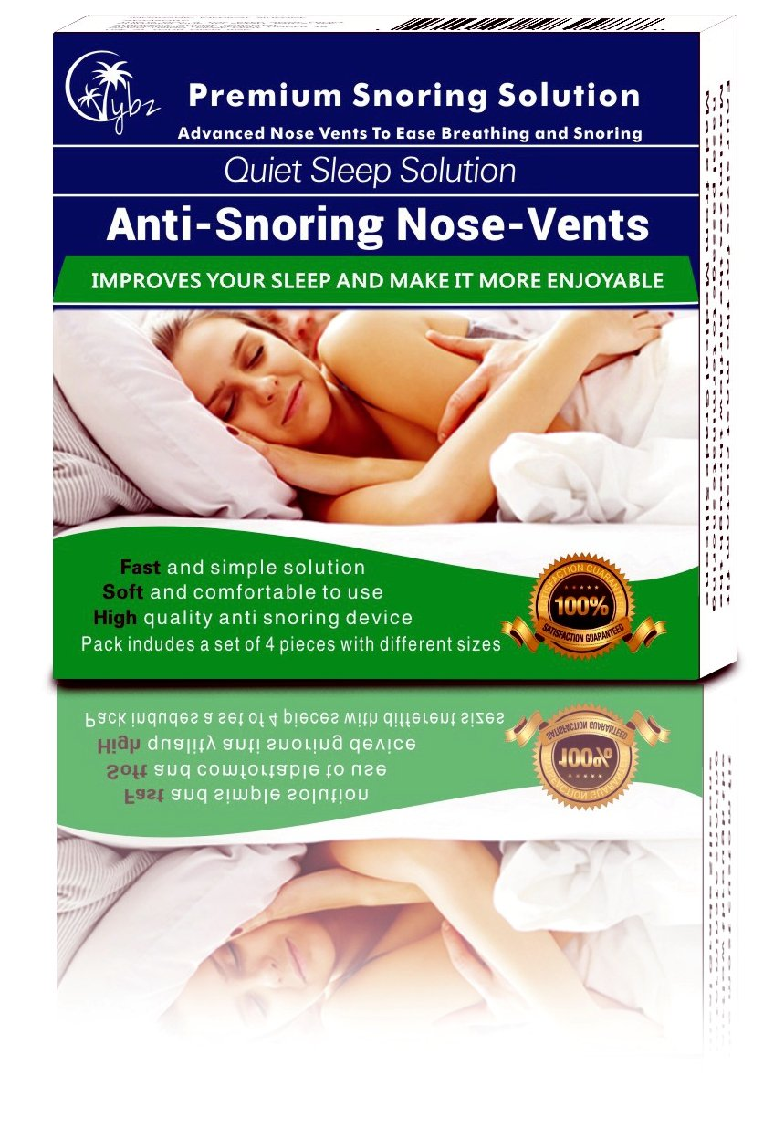 Vybz Anti Snoring Devices - 4-Pack Premium - Snore Stopper - Nose Vents - Sleep Aid Device for Natural and Comfortable Sleep, Fast, Safe and Instant Snoring Relief - Snore Nasal Dilators - Anti Snore