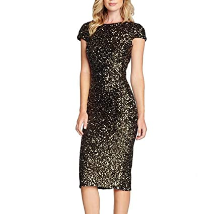 929cd5336fa Amazon.com: Clearance Paillette Dress Women Sequins Short Sleeve ...
