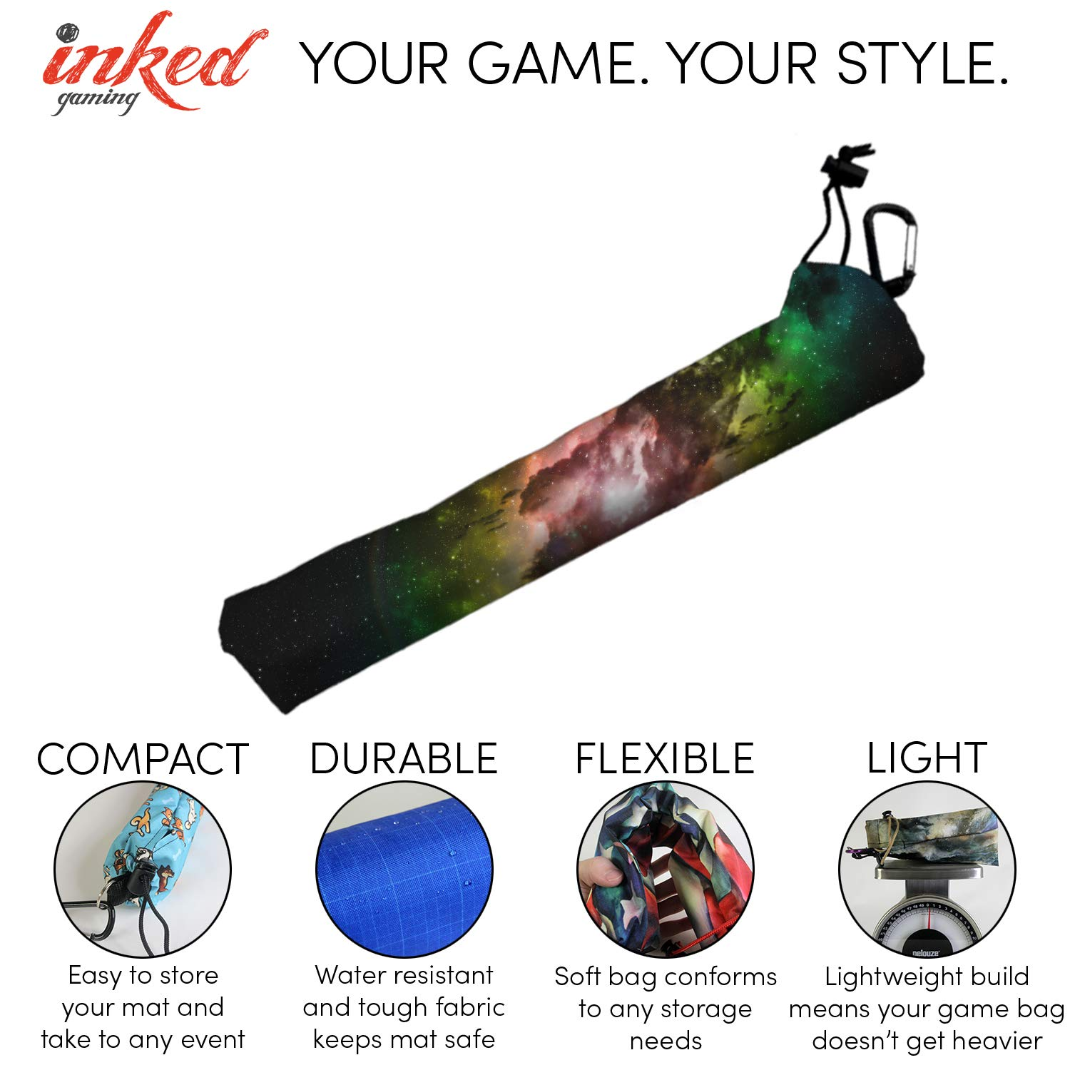 Vibrancy Playmat Bag Carrying Case by Inked Gaming Playmat Sold Separately Perfect for TCG Card Gaming Magic The Gathering and Yu-Gi-Oh Playmat Tube Playmat Case