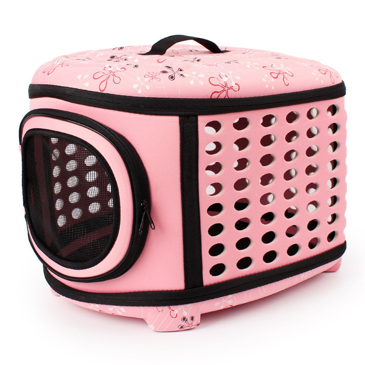 QZBAOSHU Pet Carriers for Dog & Cat Portable Traveling Kennel for Cats Small Dogs Puppies Rabbits 18LX14WX12H (Pink) by QZBAOSHU