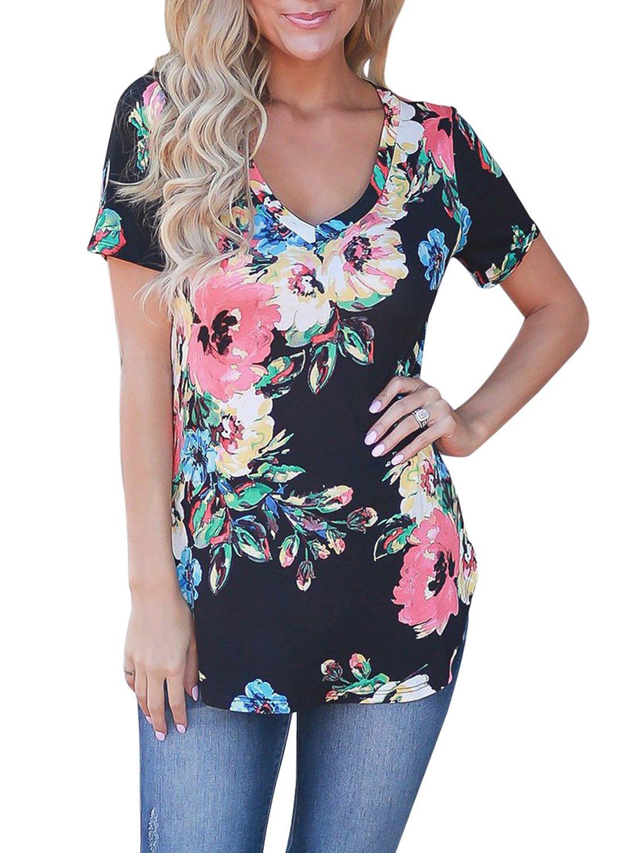 LEIYEE Womens Casual Tunic Tops Short Sleeve V Neck T Shirts Curved Hem Tee Blouses