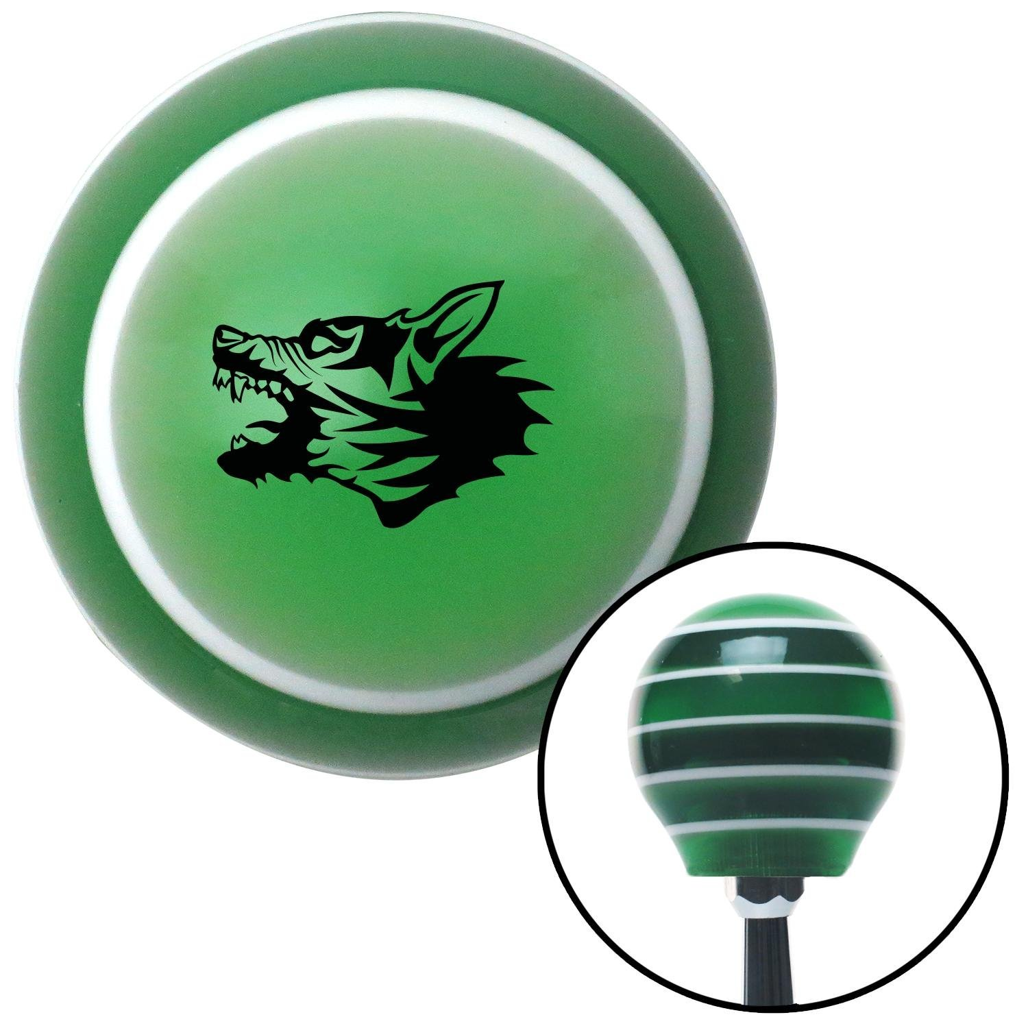 American Shifter 120667 Green Stripe Shift Knob with M16 x 1.5 Insert Black Angry Dog