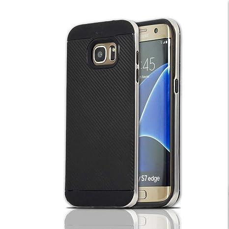 Lincivius Funda Samsung S7 Edge, Fundas Galaxy S7 Edge Carcasa [Carbon Tweel Bumper] Case Silicona Effecto Carbono Anti Golpes Cover con Conturno ...
