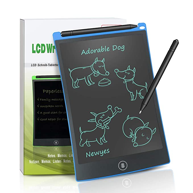 LCD Writing Tablet 8.5 Inch Magnetic Board Fridge Office Memo Boards White Board LCD Notepad (Blue)