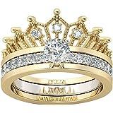 Litetao Women Wedding Rings Silver Round Ring Zirconia Antique Ring Set for Women Halo Engagement Rings for Women Bridal…