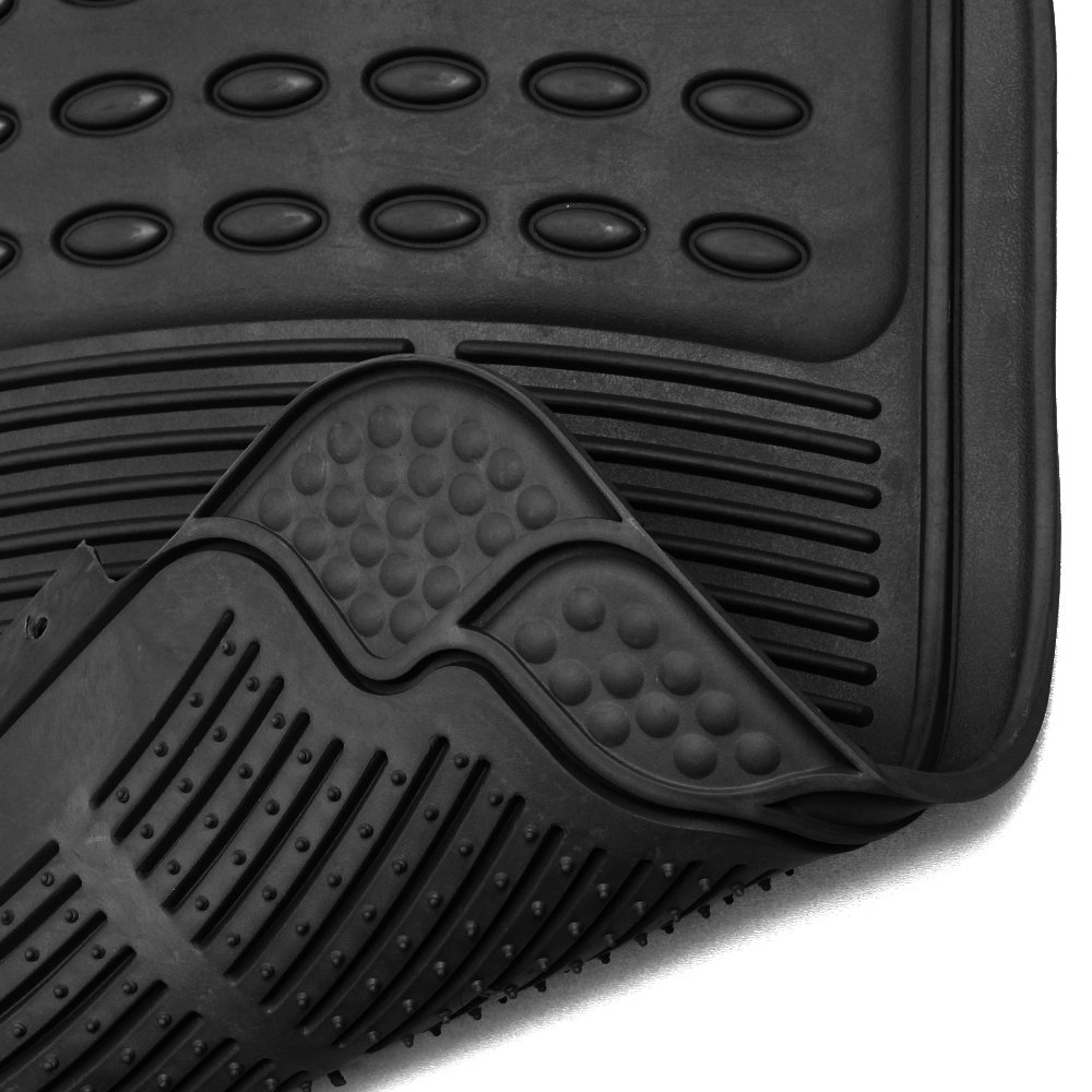 Amazon com oxgord fmpv01a bk front rear driver passenger seat ridged heavy duty rubber floor mats for cars suvs vans trucks black