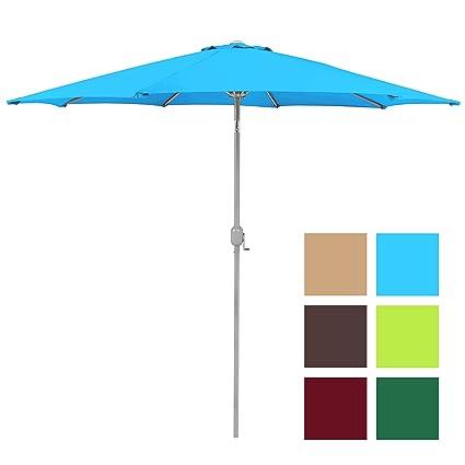 Best Choice Products 9ft Aluminum Outdoor Umbrella Patio Umbrella W/Crank  Tilt Light Blue