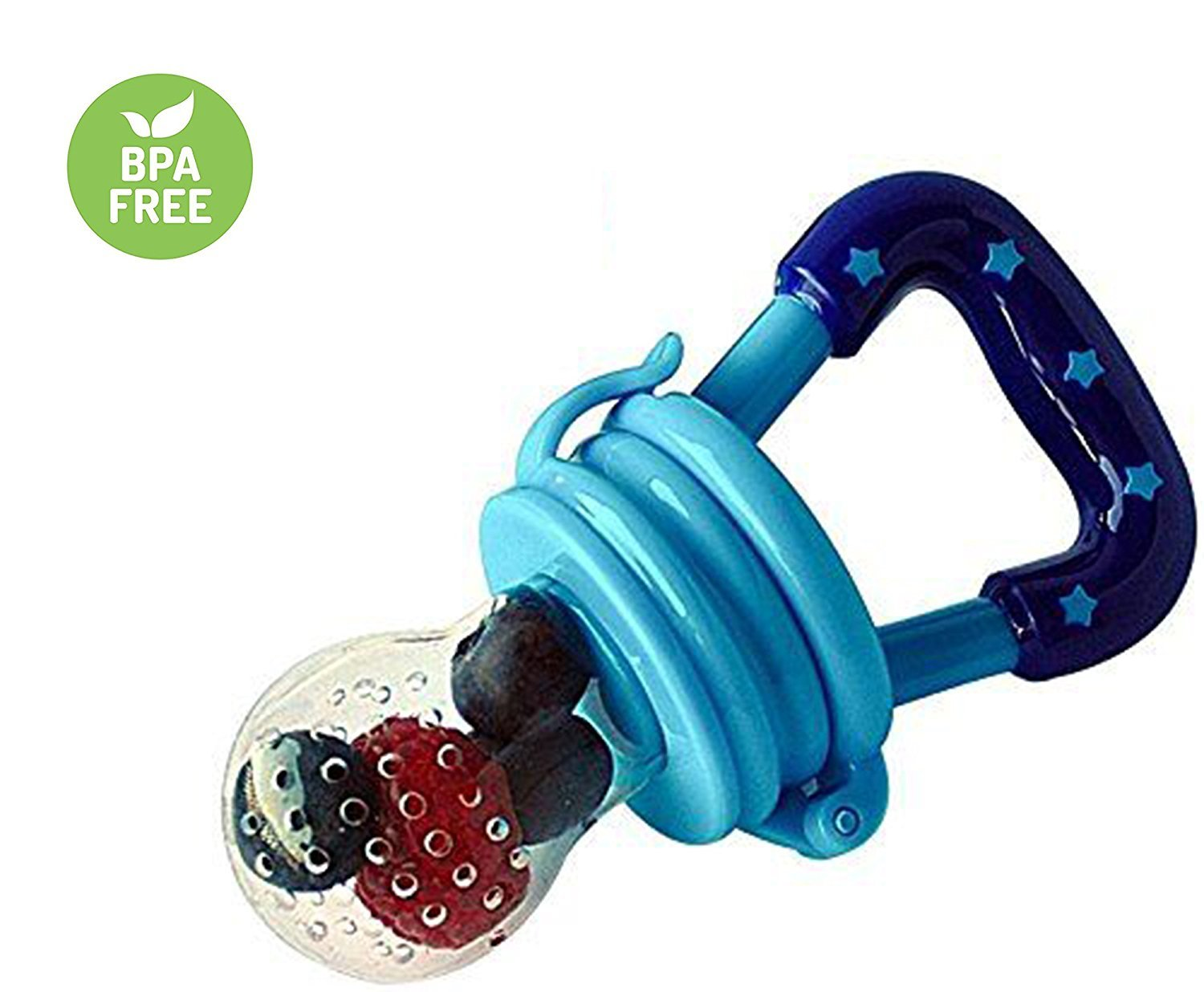 Baby Fresh Food Feeder | Baby Teether | Baby Teething Toys | Baby Fruit Feeder | Mesh Teether, 3 Pack Fruit Food Silicone Nipple Teething Toy Reusable Aching Gums Pacifier,Blue Portable Infant Food