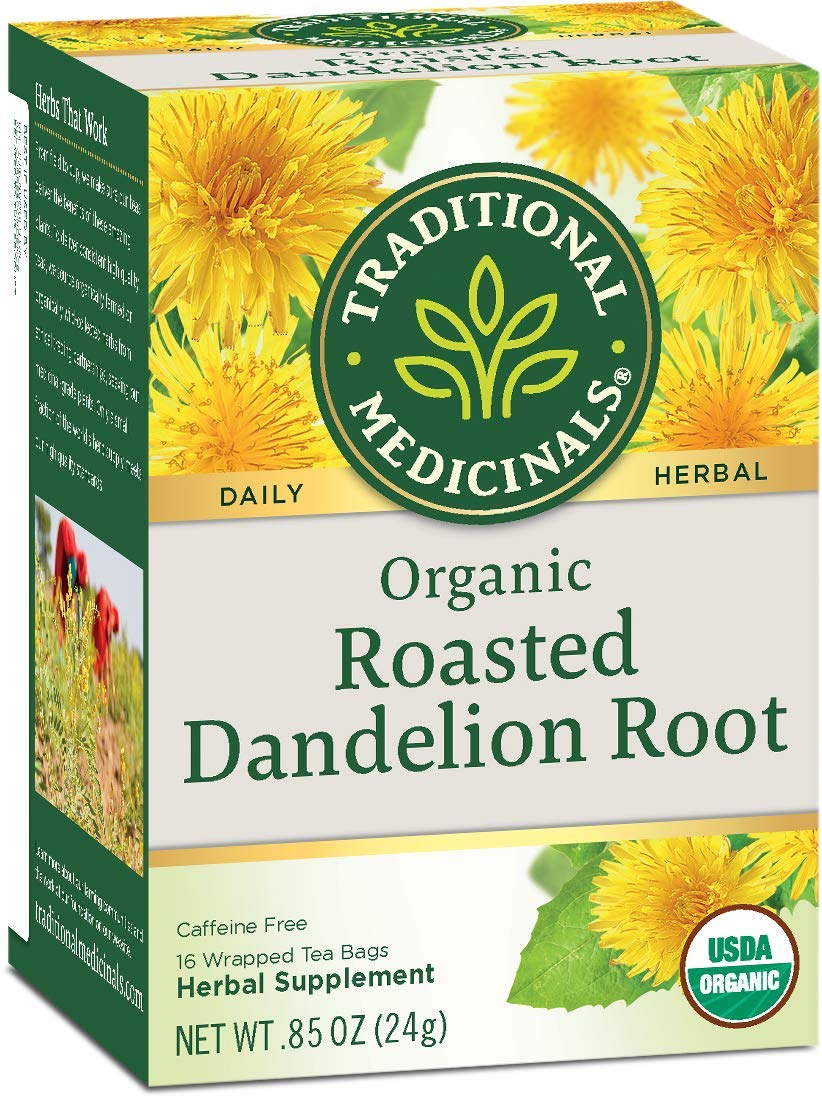 Traditional Medicinals Organic Roasted Dandelion Root Herbal Wrapped Tea Bags - 16 ct - 6 pk