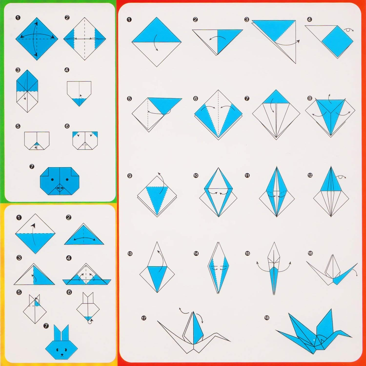 Double Sided Origami Paper Coloured Pape for Arts and Crafts Projects 100 Sheets 10x10cm