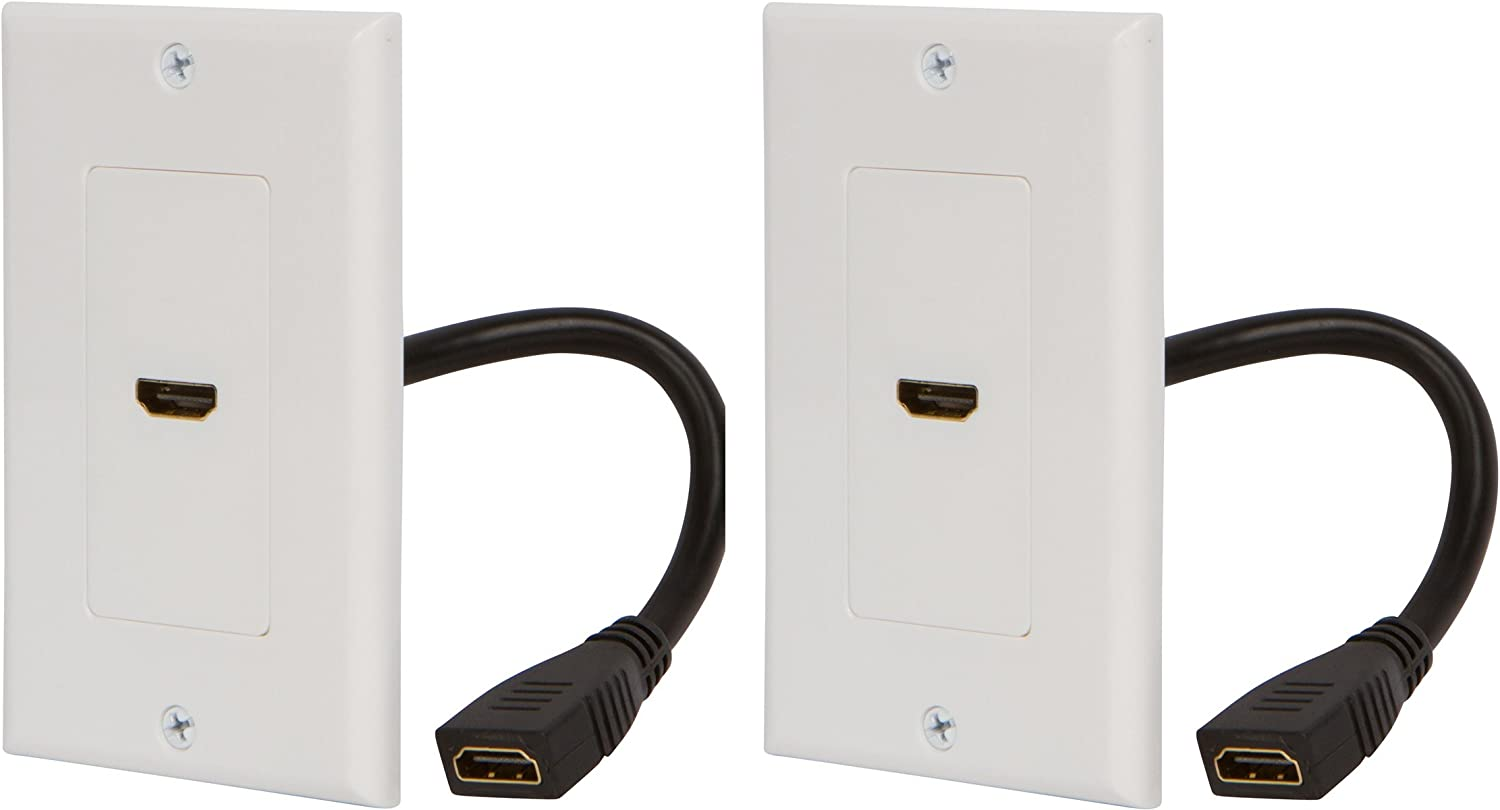Buyer's Point HDMI Wall Plate [UL Listed] with 6-Inch Pigtail (2, White)