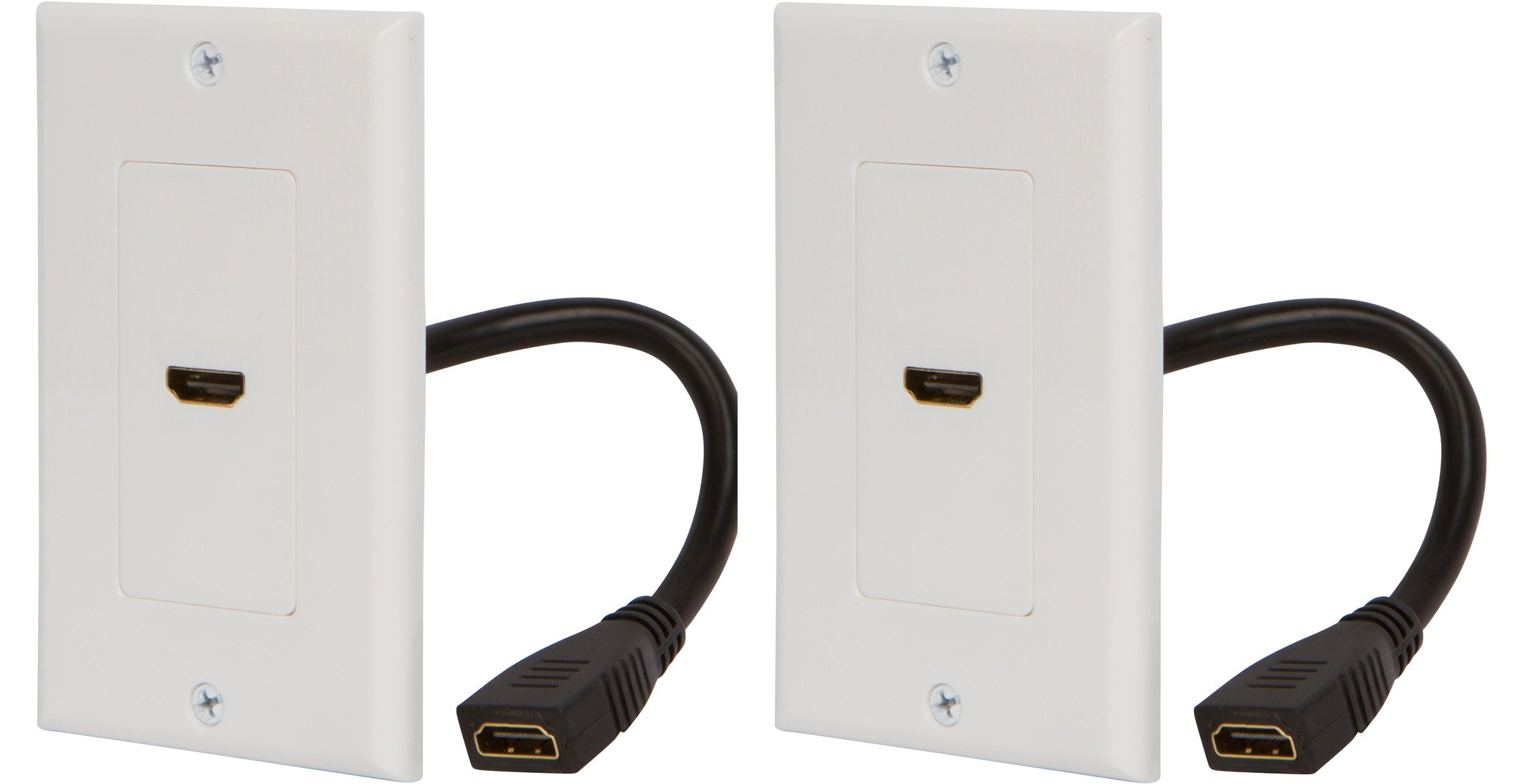Buyer's Point HDMI Wall Plate with 6-Inch Pigtail (2, White)