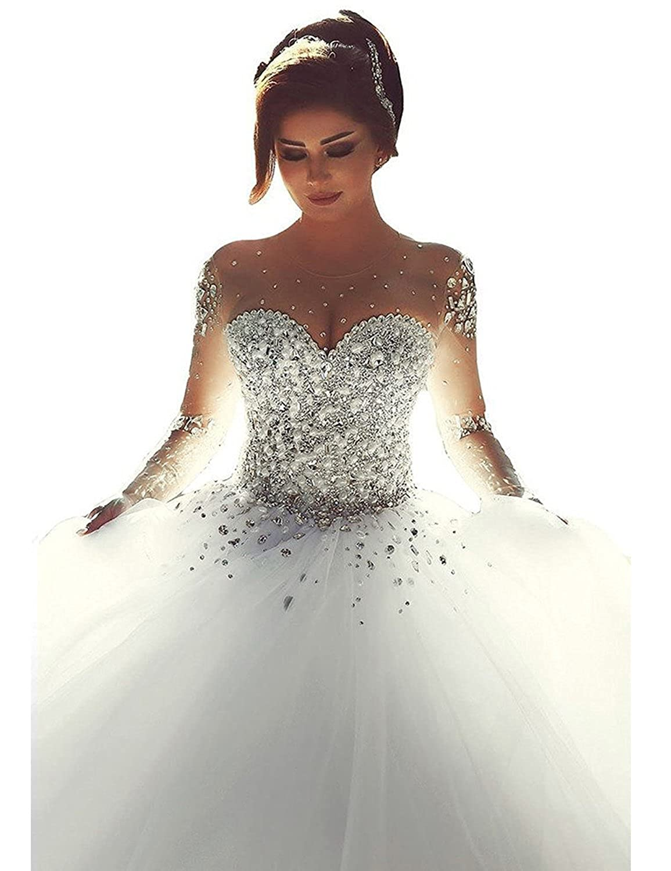 Amazon Yirenwansha 2019 Wedding Dress Maunal Beaded Illusion Long Sleeve Ball Gown Puffy Costume Ywd15 Clothing: Long Dresses Wedding Dress At Reisefeber.org