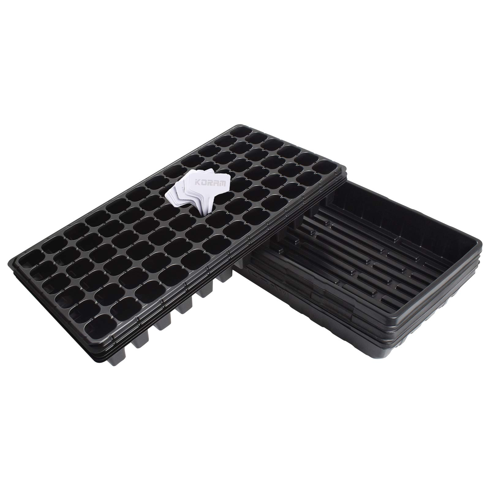 KORAM Seedling Starter Tray - 5 Pack Combo - Seed Germination Kit with Flats & 72 Cell Trays for Planting Seedlings, Propagation, Germination Plugs, Wheatgrass, Microgreens by KORAM