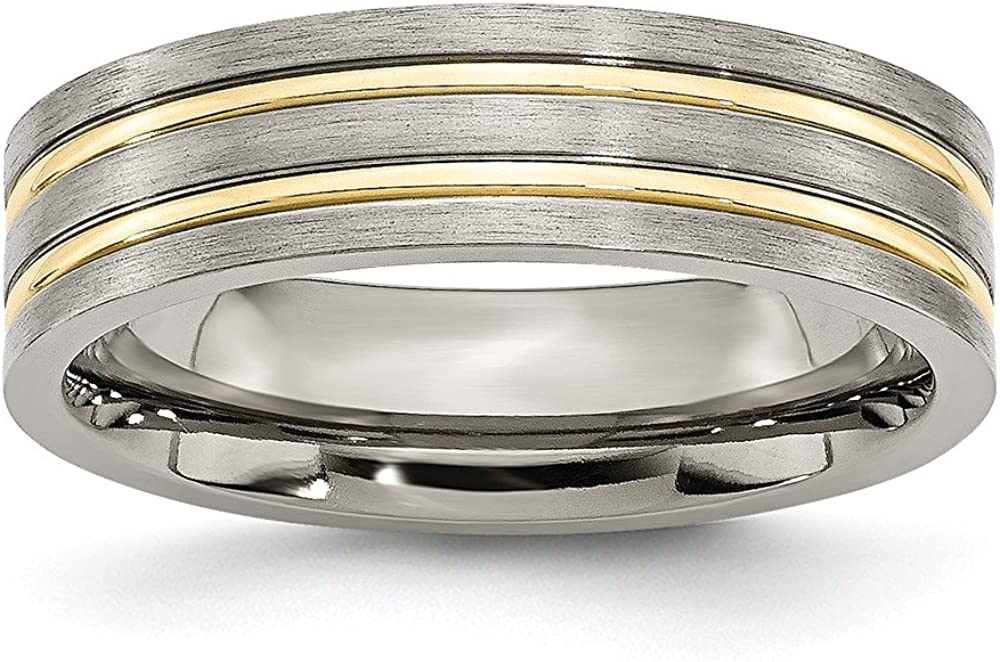 Titanium Grooved Yellow IP-plated 6mm Brushed /& Polished Band Size 9.5 Length Width 6
