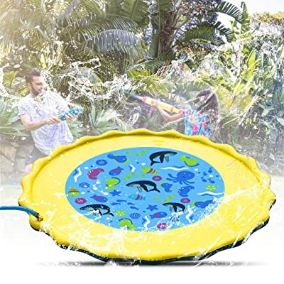 2020 Inflatable Splash Sprinkler Pad for Kids Toddlers Dogs, Baby Infant Wading Swimming Pool - Fun Backyard Fountain Play Mat for 1-5 Year Old Girls Boys (A): Home & Kitchen