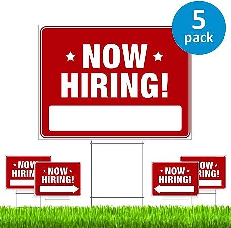 Amazon.com: Señal de contratación de ahora (5 unidades ...