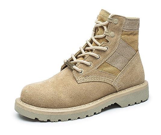 Honeystore Damen Desert Boots Klassische Lederstiefel Outdoor Wanderschuhe Casual Sportschuhe Braun 34 EU IWczd
