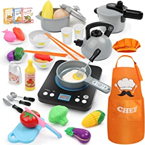 Hapgo 44Pcs Kitchen Pretend Play Toys Set with Electronic Induction Cooktop Cookware Pots and Pans Playset, Cooking Utensils, Apron & Chef Hat, Play Food, Cutting Vegetables for Kids Girls Boys (Gray)