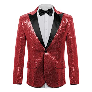 c08d34fba9 WEEN CHARM Men's Shiny Sequins Dress Suit Jacket Floral Party Dinner Jacket  Wedding Blazer Prom Tuxedo at Amazon Men's Clothing store: