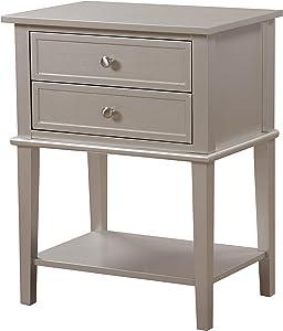 Glory Furniture Newton Nightstand, Standard, Silver Champagne