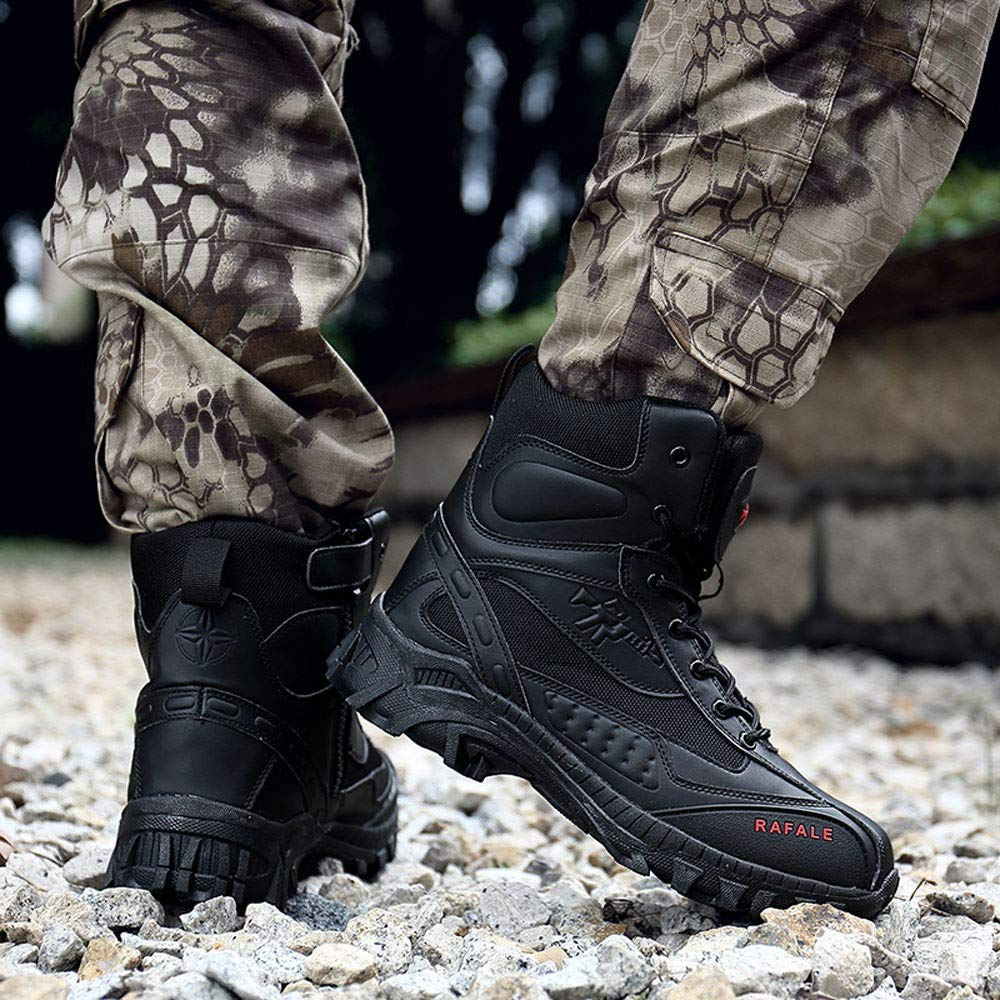 FarJing Mens Shoes Military Tactical Desert Combat Ankle Boat Boot Army Work Combat Boots