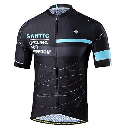abbaa193e Santic Cycling Jerseys Men s Short Sleeve Full Zip Bike Jersey with Pockets  Blue S